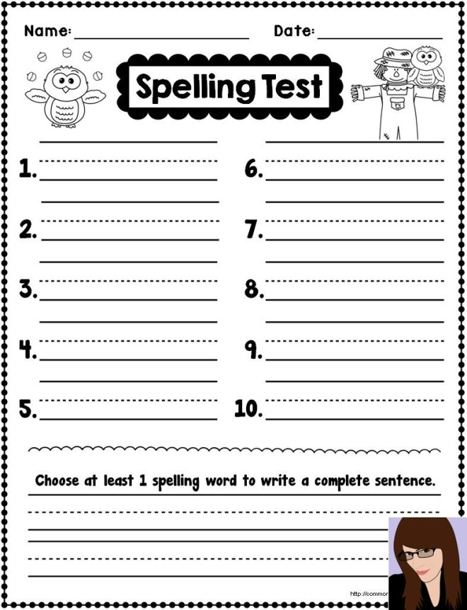 Pin Blank Spelling Test Template on Pinterest